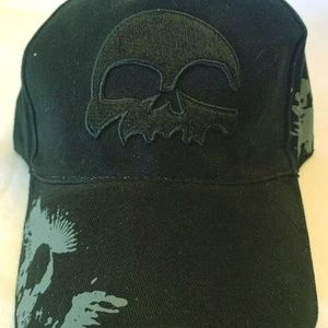Vintage Accessories - Biker Baseball Cap Black Skull Black Embroidered